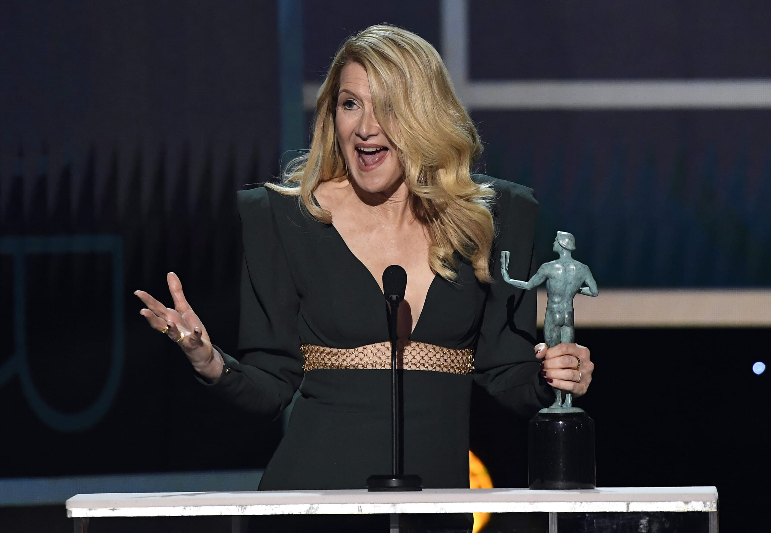Laura Dern accepting her SAG Award