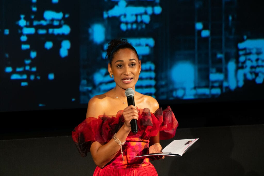 Ingrid Jean Baptiste at making an announcement at the Chelsea Film Festival