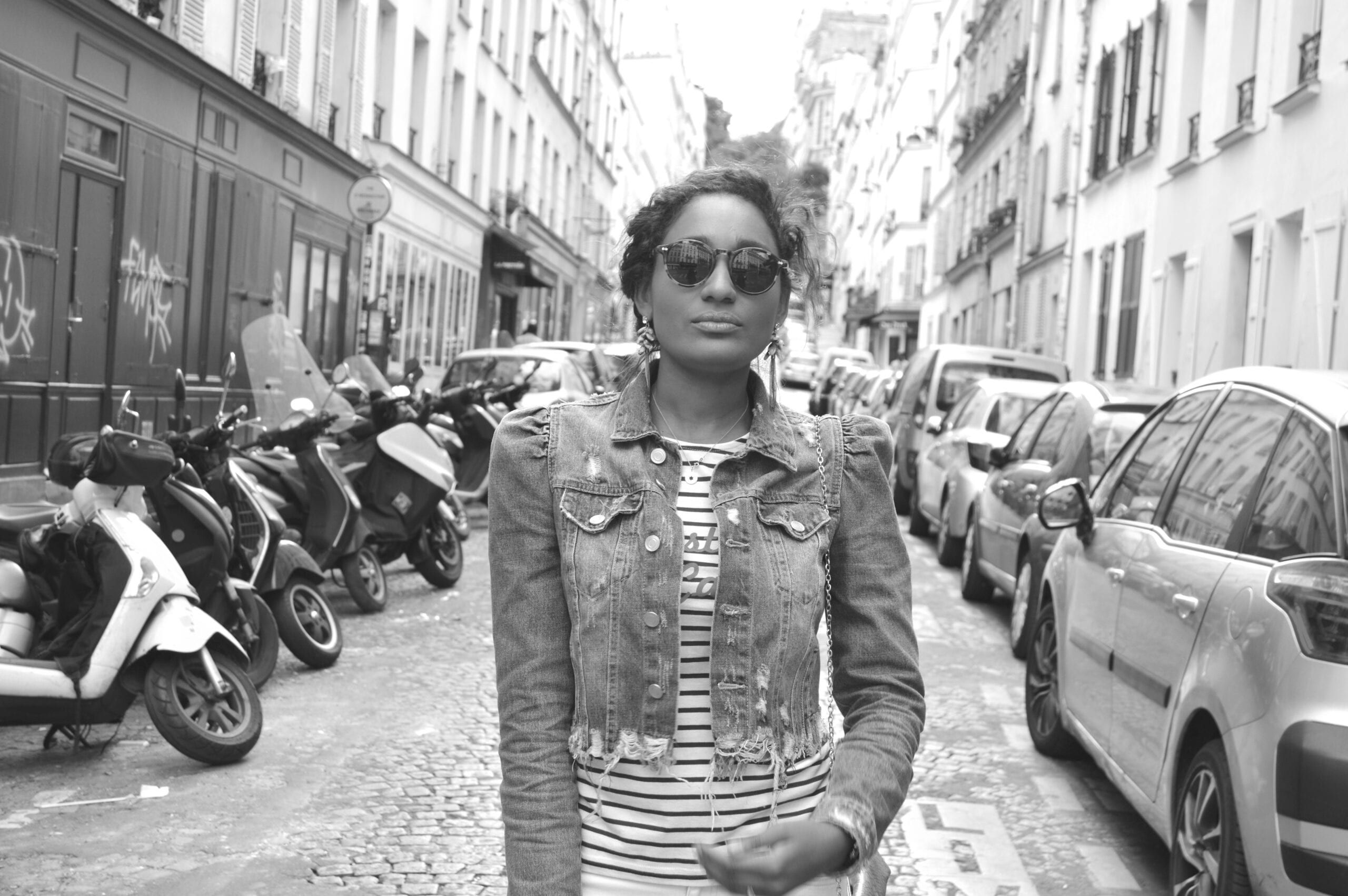 Ingrid posing on a street